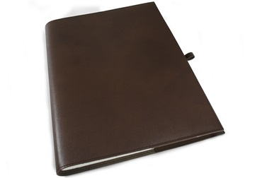 Picture of Nabucco Handmade Leather Bound A4 Refillable Journal Chocolate Plain