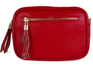 Picture of Mona Handcrafted Leather Large Cosmetic Bag Red