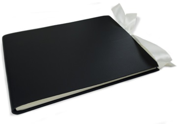 Picture of Puro Handmade Italian Leather Bound Extra Large Guest Book Black