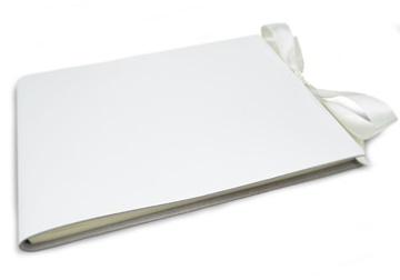 Picture of Puro Handmade Italian Leather Bound Extra Large Guest Book White