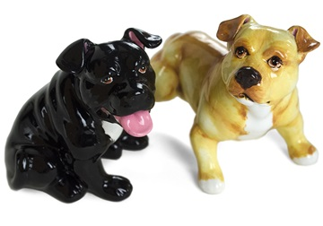 Picture of Pit Bull Terrier Handmade Mini Cruet Set Fawn and Black Natural Ear