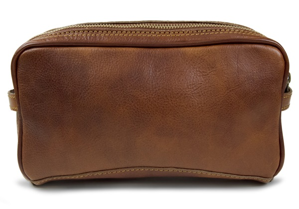 Picture of Marco Polo Handmade Full Grain Leather Wash Bag Small Vegetable Tan