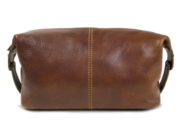 Picture of Marco Polo Handmade Full Grain Leather Wash Bag Medium Vegetable Tan