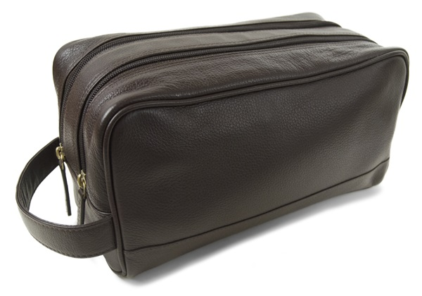 Picture of Wilson Handmade Leather Wash Bag Large Chocolate
