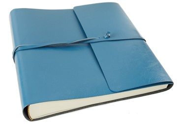 Picture of Pachino Handmade Recycled Leather Wrap Medium Photo Album Blue