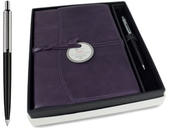 Picture of Capri Handmade Italian Leather Wrap A5 Refillable Journal Aubergine Plain