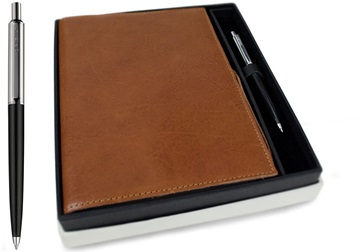 Picture of Rustico Handmade Leather Bound A5 Refillable Journal Saddle Brown Plain Gift Set