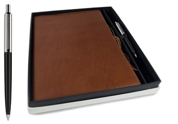 Picture of Rustico Handmade Leather Bound A4 Refillable Journal Saddle Brown Plain Gift Set