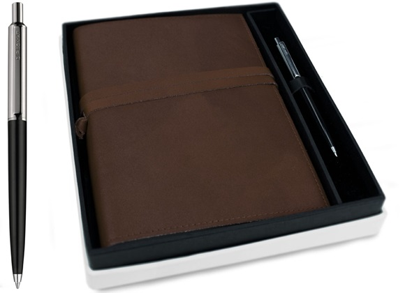 Picture of Nabucco Handmade Leather Bound A5 Refillable Journal Chocolate Plain Gift Set