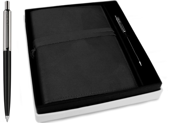 Picture of Nabucco Handmade Leather Bound A5 Refillable Journal Black Plain Gift Set