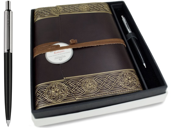 Picture of Olympia Handmade Recycled Leather Wrap A5 Refillable Journal Rustic Gold Plain Gift Set