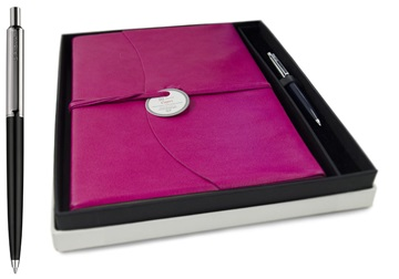 Picture of Capri Handmade Italian Leather Wrap A4 Journal Fuchsia lined Gift Set