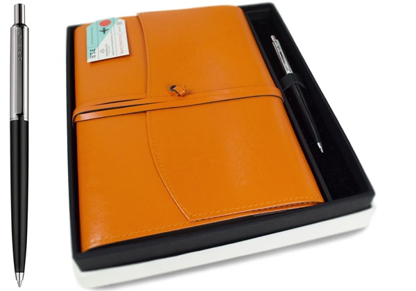Picture of Journalista Handmade Recycled Leather A5 Refillable Journal Orange Plain Gift Set