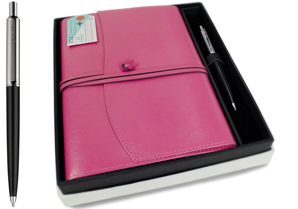 Picture of Journalista Handmade Recycled Leather A5 Refillable Journal Pink Plain Gift Set