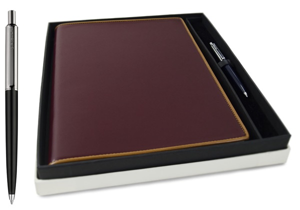 Picture of Cortona Handmade Italian Leather A4 Yacht Logbook Burgundy Gift Set