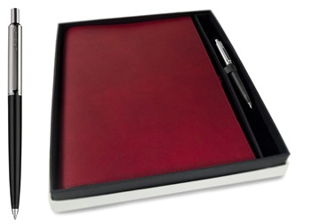 Picture of Nabucco Handmade Leather Bound A4 Refillable Journal Burgundy Plain Gift Set