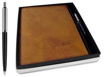 Picture of Nabucco Handmade Leather Bound A4 Refillable Journal Tan Plain Gift Set