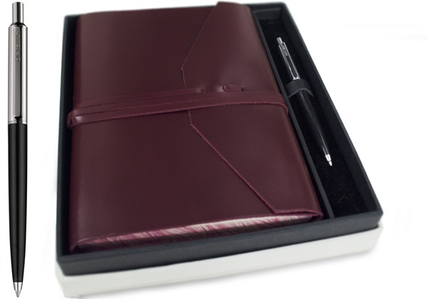 Picture of Positano Handmade Leather Wrap A5 Journal Burgundy lined Gift Set