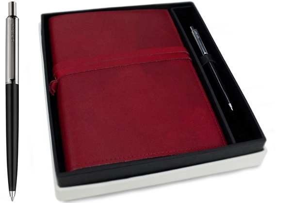 Picture of Nabucco Handmade Leather Bound A5 Refillable Journal Burgundy Plain Gift Set