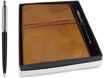 Picture of Nabucco Handmade Leather Bound A5 Refillable Journal Tan Plain Gift Set