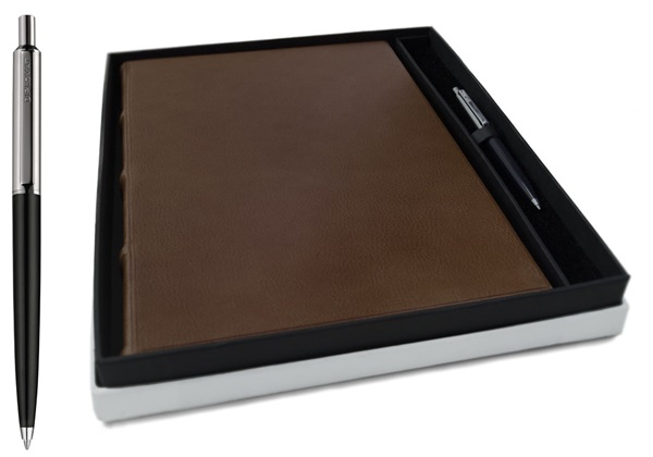 Picture of Chianti Handmade Italian Leather Bound A4 Yacht Logbook Chocolate Gift Set