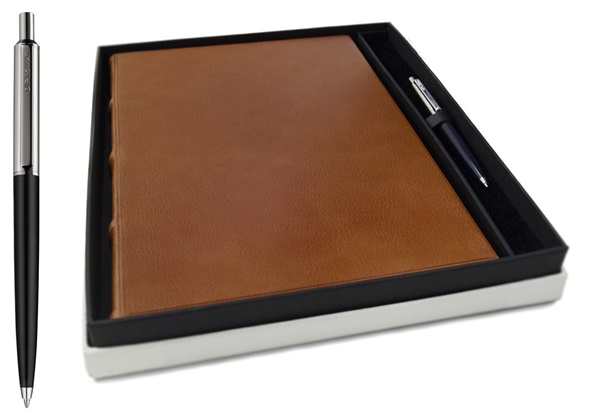 Picture of Chianti Handmade Italian Leather Bound A4 Yacht Logbook Saddlebrown Gift Set