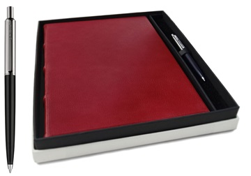 Picture of Chianti Handmade Italian Leather Bound A4 Journal Burgundy Plain  Gift Set