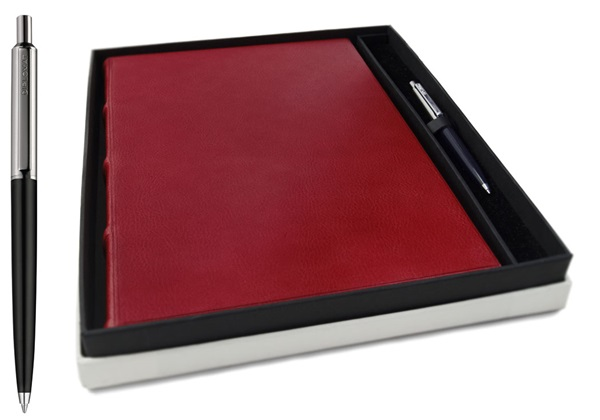 Picture of Chianti Handmade Italian Leather Bound A4 Yacht Logbook Burgundy Gift Set