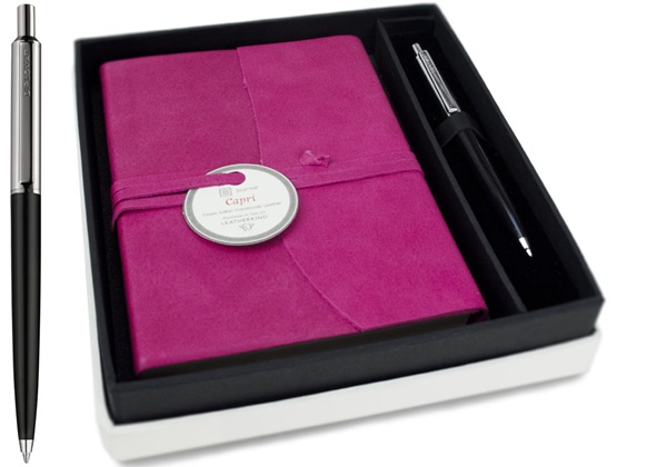 Picture of Capri Handmade Italian Leather Wrap A6 Journal Fuchsia Plain