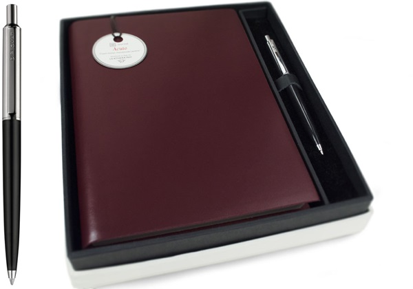 Picture of Acuto Handmade Italian Leather Bound A5 Journal Burgundy Plain