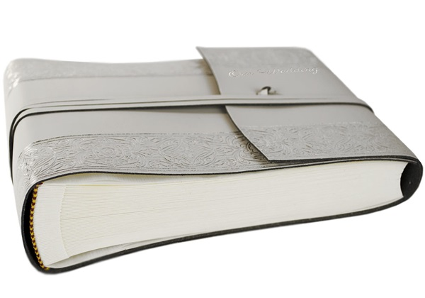 Picture of Angelus Handmade Italian Recycled Leather Wrap Small Photo Album Silver