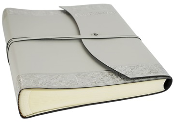 Picture of Angelus Handmade Italian Recycled Leather Wrap Large Photo Album Silver