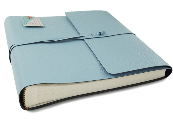 Picture of Pachino Handmade Recycled Leather Wrap Medium Photo Album Baby Blue