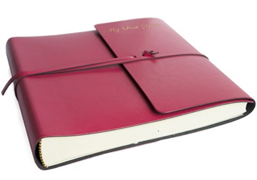 Picture of Pachino Handmade Recycled Leather Wrap Medium Photo Album Raspberry