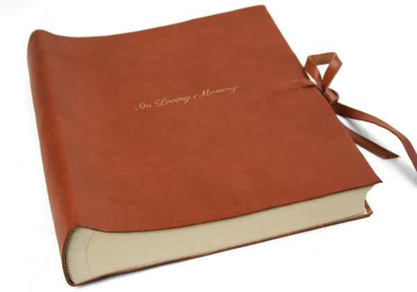 Picture of Rustico Handmade Leather Bound Large In Loving Memory Photo Album Saddle Brown
