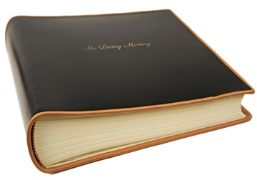 Picture of Cortona Handmade Italian Leather Bound Medium In Loving Memory Photo Album Black