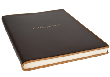Picture of Cortona Handmade Italian Leather Bound A4 In Loving Memory Journal Chocolate Plain