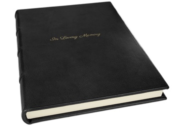 Picture of Chianti Handmade Italian Leather Bound A4 In Loving Memory Journal Black Plain