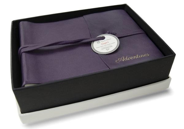 Picture of Capri Handmade Italian Leather Wrap Small Photo Album Aubergine