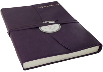 Picture of Capri Handmade Italian Leather Wrap A5 Journal Aubergine Plain