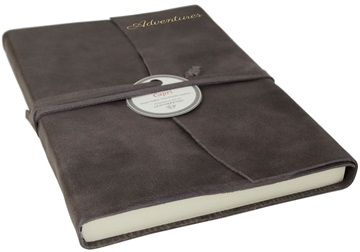 Picture of Capri Handmade Italian Leather Wrap A5 Journal Charcoal Plain
