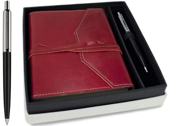 Picture of Tudor Handmade Leather Wrap A6 Journal Maroon Plain