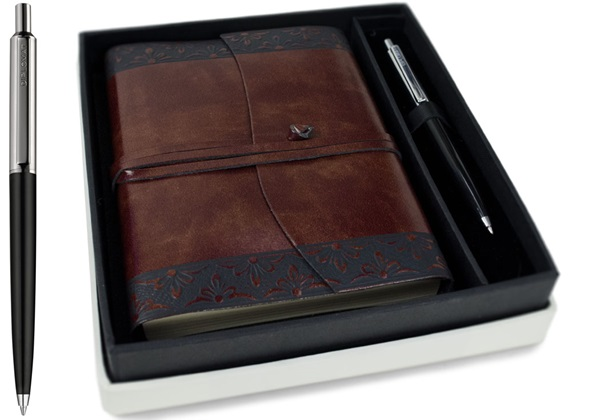 Picture of Fiore Handmade Recycled Leather Wrap A6 Journal Chestnut Plain