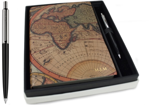 Picture of Columbus Handmade Hard Bound Italian A5 Journal Sepia Plain Gift Set