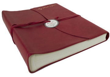 Picture of Capri Handmade Italian Leather Wrap Large Photo Album Firebrick