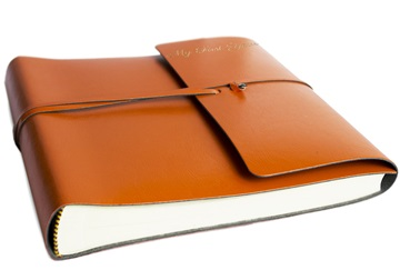 Picture of Pachino Handmade Recycled Leather Wrap Medium My First Year Photo Album Tangerine