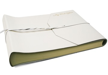 Picture of Positano Handmade Leather Wrap Large Photo Album White