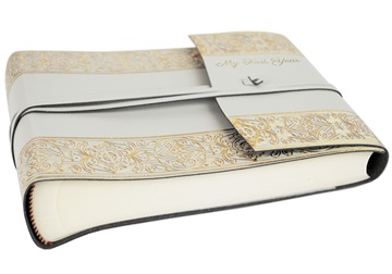 Picture of Angelus Handmade Italian Recycled Leather Wrap Small Photo Album Gold