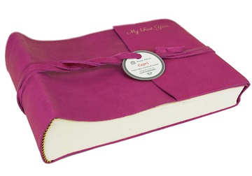 Picture of Capri Handmade Italian Leather Wrap Small Photo Album Fuchsia