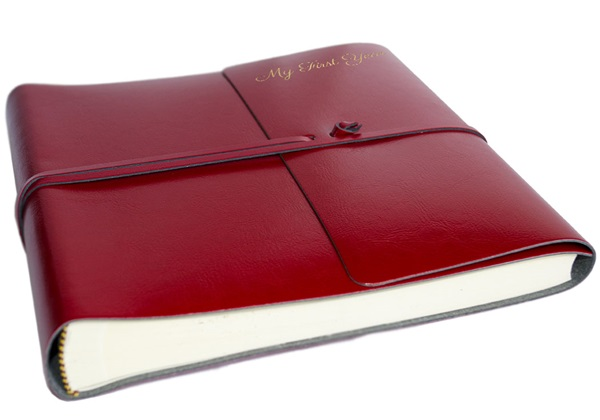 Picture of Pachino Handmade Recycled Leather Wrap Medium Photo Album Cherry